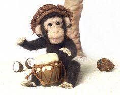 Bongo Playing Needle-Felted Miniature Chimpanzee