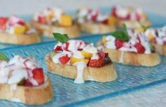 This looks delicious!  It is a bit more savory and could work as either an appetizer or dessert.    Recipe here: http://www.ourbestbites.com/2010/03/fresh-fruit-bruschetta-with-orange-honey-cream/