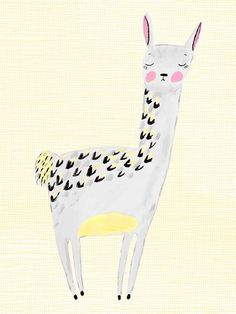 Large Lovely Llama - Gray And Yellow