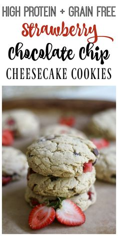 These high protein, grain free, real food Strawberry Chocolate Chip Cheesecake Cookies are so soft and delicious! They're the perfect comfort food treat! Grain Free Cookie Recipe, Gluten Free Cookie Recipes, Gluten Free Treats, Healthy Dessert Recipes, Gluten Free Desserts, Real Food Recipes, Delicious Desserts, Healthier Desserts, Paleo Cookies