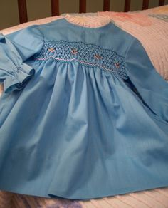 57bfe9cfd365 1960s Polly Flinders hand smocked baby dress, poly cotton, vintage baby/  toddler,
