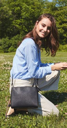 """""""The Pearl"""" leather crossbody bag. Converts to a clutch and is crafted from premium grade leather."""