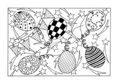 This FREE coloring page features patterned balloons, stars, and banners that really achieve that party aesthetic. #FaveCrafter #coloring #adultcoloring (Artist: B. Strydom)