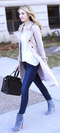 ...diggin that coat!!... Christian Louboutin Grey Suede Booties by Ivory Lane