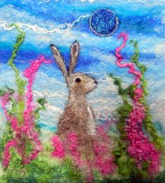 The Gentle Mooon Hare Original Felt Picture/Wall Hanging