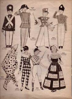 Vintage Sewing Pattern Catalogue – Fancy Dress For Children – Vintage Knitting Pattern Archive Vintage Knitting, Vintage Sewing Patterns, Harlequin Costume, Pierrot Clown, Victorian Gentleman, 18th Century Costume, 17th Century, Red Indian, Victorian Costume