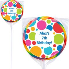 Polka Dot Party Personalized Lollipops - Polka Dot Custom Swirl Pops at Birthday in a Box