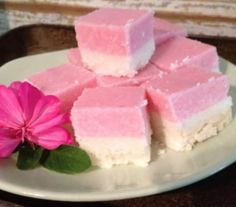 This Coconut Ice Recipe has won 22 blue ribbons for best slice and is without doubt the most delicious that you will make. Get the recipe now. Coconut Ice Recipe, Coconut Icing, Coconut Slice, Coconut Candy, Coconut Recipes, Fudge Recipes, Candy Recipes, Cookie Recipes, Food Cakes