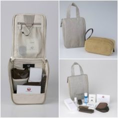 [First Class] Japan Airlines On inbound flights, the bag is corduroy with a zip-top—camel-colored in spring and summer, moss green in fall and winter. On outbound flights, the kit is a particularly useful canvas hanging toiletry bag design—beige in spring and summer, brown in fall and winter. Inside each kit, no matter the season, you'll find skincare products by Spanish luxury brand LOEWE, including a moisture mask and lip balm.