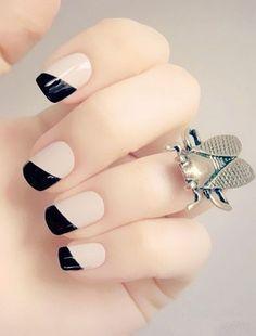 Shiny Black & White Nails.