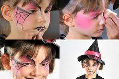 vier bilder von einem mädchen - mit einem interessanten hexe make up