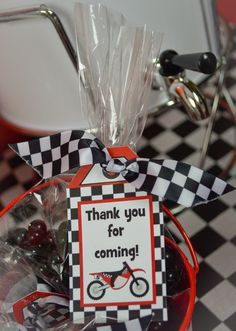 Awesome favors at a Dirt Bike Birthday Party! See more party ideas at… Motorcycle Birthday Parties, Dirt Bike Party, Dirt Bike Birthday, Motorcycle Party, 4th Birthday Parties, Boy Birthday, Birthday Ideas, Motocross Birthday Party, Motocross Baby
