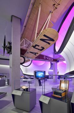 Suspended from the ceiling is a 1929 Handley Page Gugnunc aircraft – the inspiration for this gallery's design.