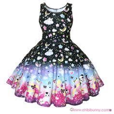 Over the rainbow (Black) - Cute kawaii skater dress and skirt - SD22