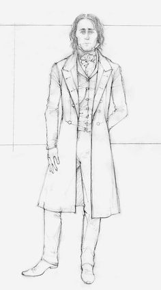 """A sketch by costume designer Kate Hawley of the costume for the character Sir Thomas Sharpe played by Tom Hiddleston for Legendary Pictures' """"Crimson Peak"""". Source: http://www.denverpost.com/crime/ci_28969297/inside-lavish-visual-feast-crimson-peak"""