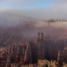 Foggy Bryce Canyon sunrise by SLautner  sunrise fog morning rocks Sonnenaufgang Nebel Utah Canyon Bryce Felsen SLautner