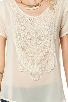 Sheer Crochet Front Blouse