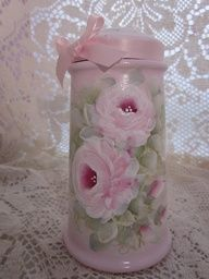 Vintage powder shaker remake...painted pink with pink roses.