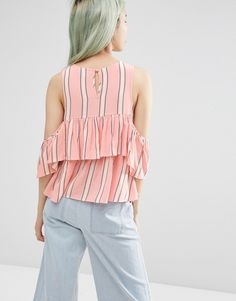 Image 2 of ASOS Tiered Cold Shoulder Top In Stripe