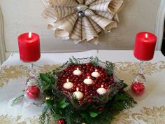 Floating candles and cranberries make a festive centerpiece