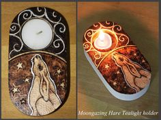 Pyrography - Moon-gazing Hare Tealight Holder by *BumbleBeeFairy on deviantART