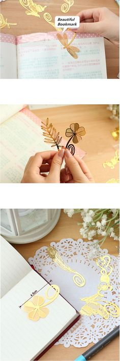 Book Bookmark Inspiration: Animal, Leaf and Flower Color: Gold. Body Material: Metal, safe and healty for human body and environment. Size: 4.5cm. Weight: 7g. Function: Bookmark / Office decoration / Gift / Promotion.   Keterangan : Sebutkan Model yang diinginkan pada saat pemesanan Shopping, Beautiful
