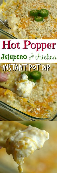 This hot popper Jalapeno and Chicken Instant Pot Dip is so cheesy and delicious with just the right amount of kick.  Pin for Later! #jalapeno #spicy #chicken #dip #instantpot #pressurecooker #party
