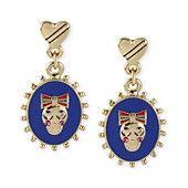 Betsey Johnson Earrings, Gold-Tone Skull Oval Drop Earrings