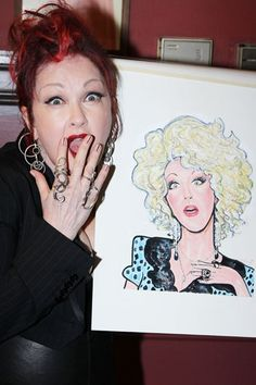 KINKY BOOTS composer Cyndi Lauper can hardly believe she has her own caricature at Sardi's!