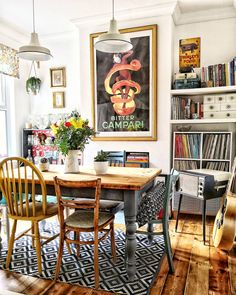 room decorating eclectic dining room decor with mismatched dining room chairs and vintage wall art, built in storage in dining room, vintage dining room decor Decoration Inspiration, Room Inspiration, Decor Ideas, Design Inspiration, Retro Home Decor, Cheap Home Decor, Bar Sala, Vintage Farmhouse Decor, Rustic Decor