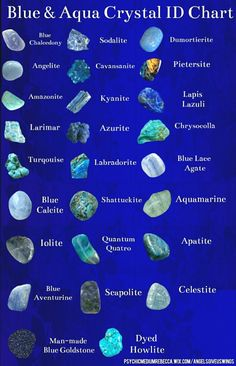 Blue gemstones and crystal identification Crystal Healing Stones, Crystal Magic, Healing Rocks, Minerals And Gemstones, Rocks And Minerals, Green Gemstones, Blue Crystals, Stones And Crystals, Gem Stones
