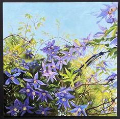 Lattice Clematis 12x12 oil Clematis, Original Art, Oil, Watercolor, Artist, Plants, Design, Pen And Wash, Watercolor Painting