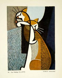 1956 Photolithograph Japanese Tomoo Inagaki Cat Making Up Licking Color Orange