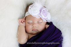 newborn photos, love the shade of purple!