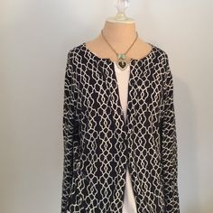 Cute Cardigan 💙 Trellis patterned cotton/blend cardigan. A bit of stretch, very flattering! Worn once, great condition. Merona Sweaters Cardigans