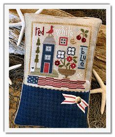 US Patriotic cross stitch pillow ornament