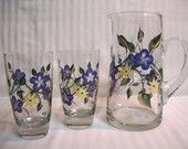 Hand painted Pitcher glass set-Drinking glass set-Painted glass set-Floral glass set
