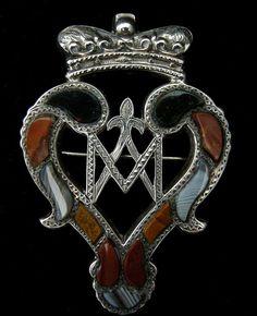 Victorian Scottish Sterling Silver Pebble Brooch. Circa 1855