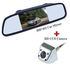 """Bring 4 ir lights matel shell higest car parking camera and  sunvisor placement hd 4.3"""" lcd car  mirror adapt various car"""