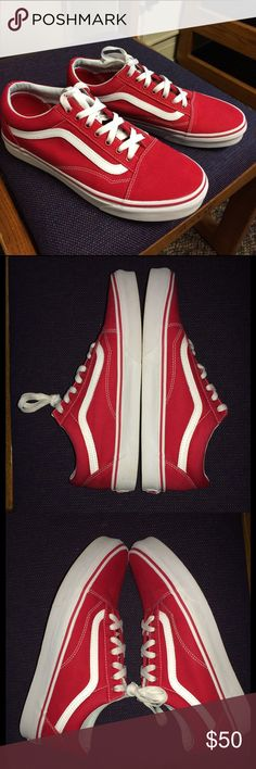 Red / True White lowtop Vans canvas old skool 9/10 Condition! Formula One Canvas Old Skool Vans lowtop . **Size: 9 (Men) / 10.5 (Women)** comes with original laces and Vans sticker ! Vans Shoes Sneakers