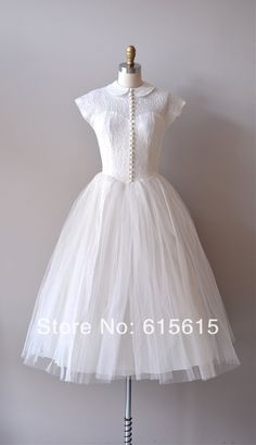 Real Sample Knee Length Lace Tulle Short Wedding Dress Wedding Gown