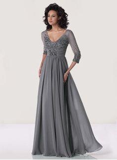 A-Line/Princess V-neck Floor-Length Chiffon Evening Dress With Beading