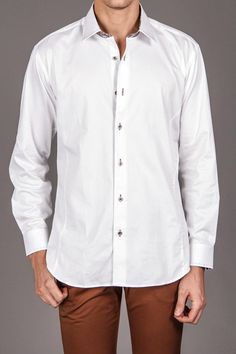 Jared Lang Mens Woven Shirt with Contrast Collar and Cuff