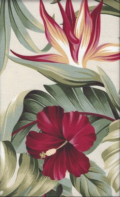 Puahi Natural - a Tropical Botanical Vintage style Hawaiian Fabric with Hibiscus and Bird of Paradise flowers. A floral print on a cotton upholstery barkcloth..