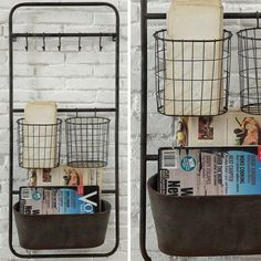 Rustic Wall Mounted Baskets With Hooks