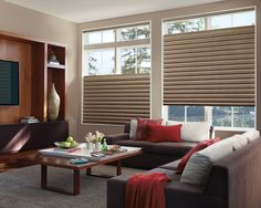 Add excitement to living room decor with an accent of color and Solera® Soft Shades with top/down bottom/up operation. ♦ Hunter Douglas window treatments