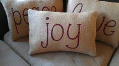 Peace Love Joy Burlap Pillows by JustLittleLoveables on Etsy, $40.00