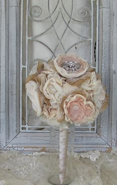 Wedding Bouquet Rhinestones Vintage Inspired Custom Made any Colors. $150.00, via Etsy.