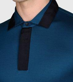 ZZEGNA: Polo Manches Courtes Piqué Col polo Fermeture avec boutons Bleu roi, Détail 3 - 37532552JN