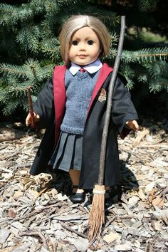 Or show your allegiance to Griffindor. | 29 Incredible Character Transformations For Your American Girl Doll